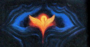 La naissance de l'oiseau de feu dans la fleur d'Agathe - Huile 1974 - Peter Birkhäuser