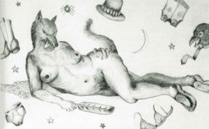 Rebecca Belmore, Coyote Woman, 1991, Graphite sur papier, 33 X 50 cm.